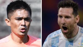 Sunil Chhetri overtakes Messi, 1 goal away from all-time top-10