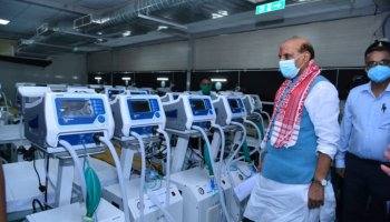 Assam: Rajnath Singh visits DRDO COVID hospital at Guwahati stadium