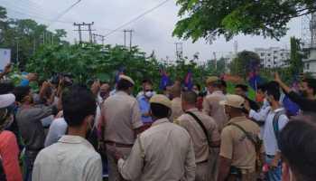 Assam: AJP members protest handing over of Guwahati airport to Adani