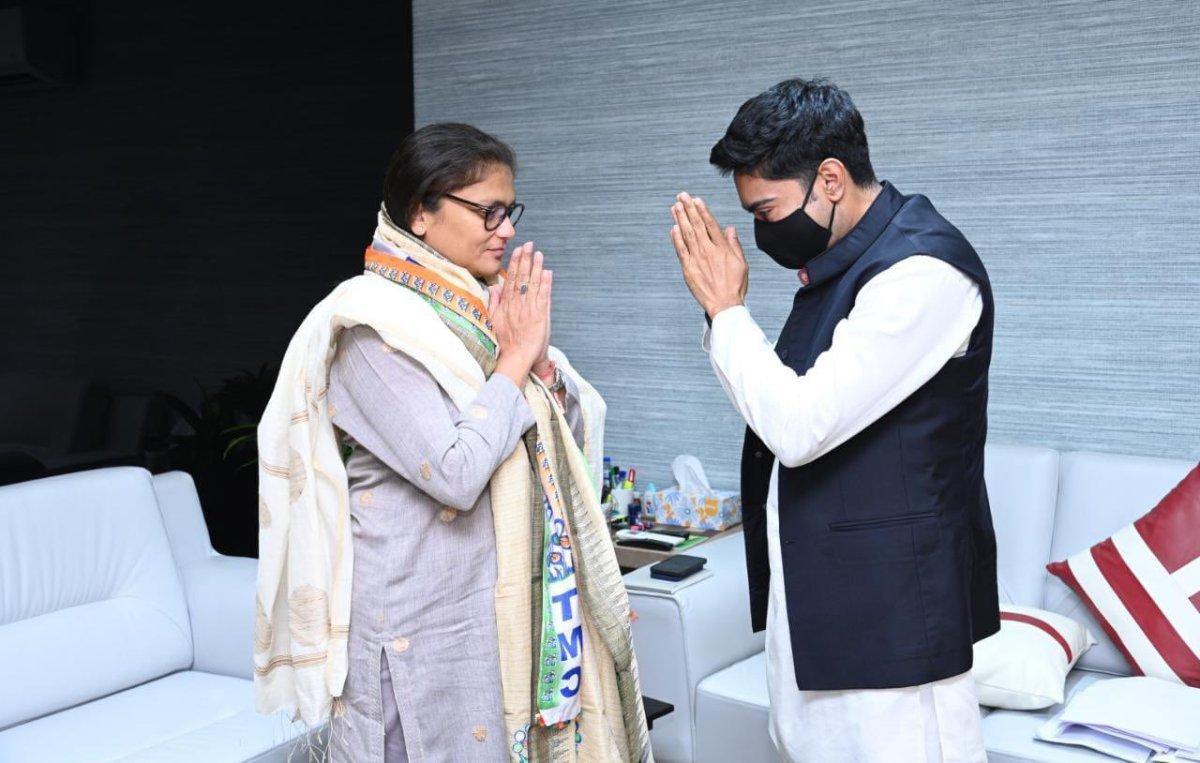 Sushmita Dev met TMC national general secretary Abhishek Banerjee