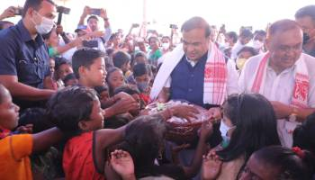 Assam chief minister Himanta Biswa Sarma at the Anganwadi Centre of Borkothiabari in Behali