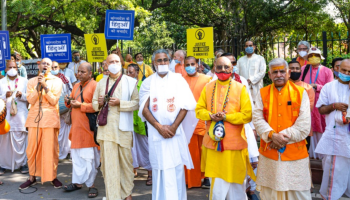 ISKCON members protest at Jantar Mantar against attack on Hindus in Bangladesh