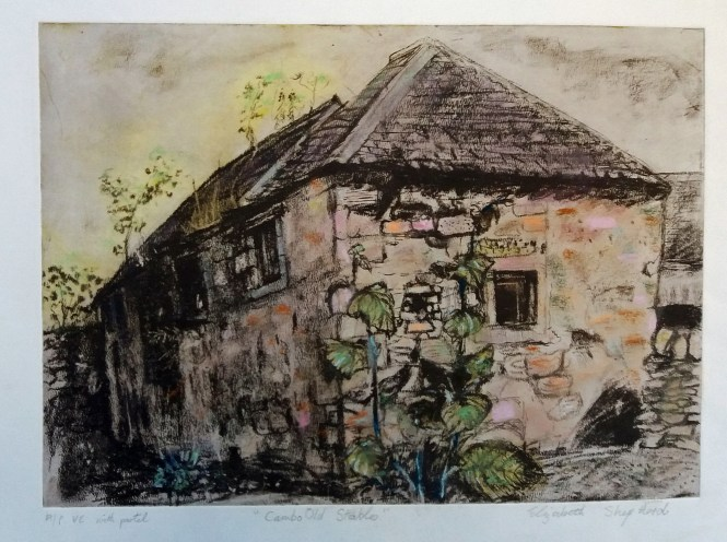 Cambo Old Stables etching with pastel 41x29cms £300