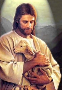 Jesus embracing lamb
