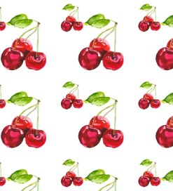 watercolour cherries pattern