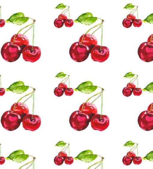watercolour cherries pattern