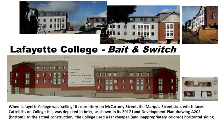Lafayette College plans for mixed-use dormitory on McCartney Street, compared to the actual design of building as it's being built. Easton, PA