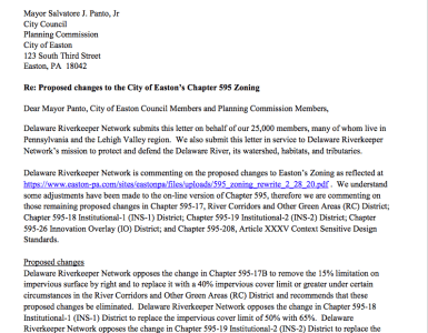 Letter to Easton City Council opposition to zoning changes