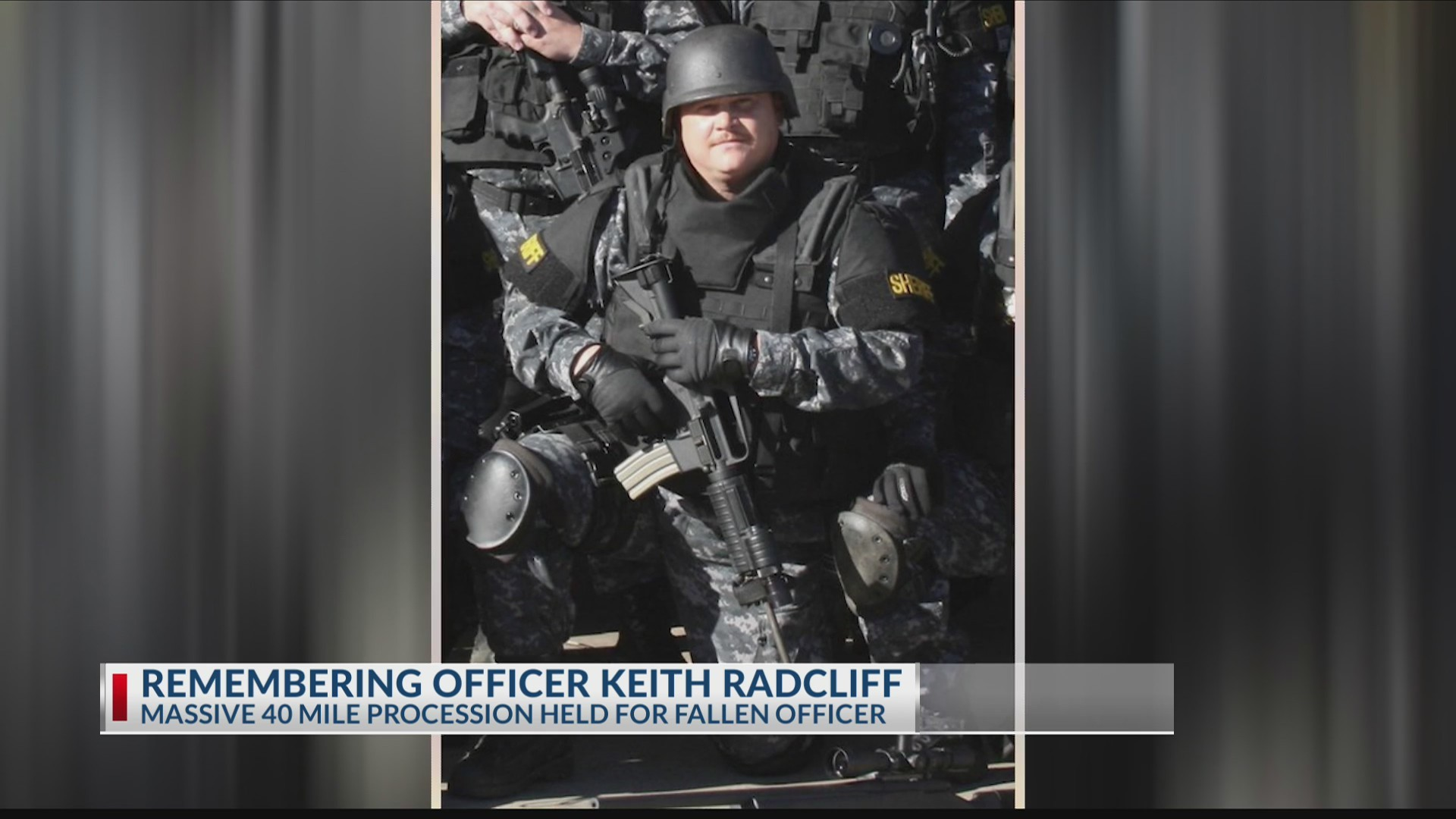 HONORING OFFICER RADCLIFF: Massive procession for fallen brother