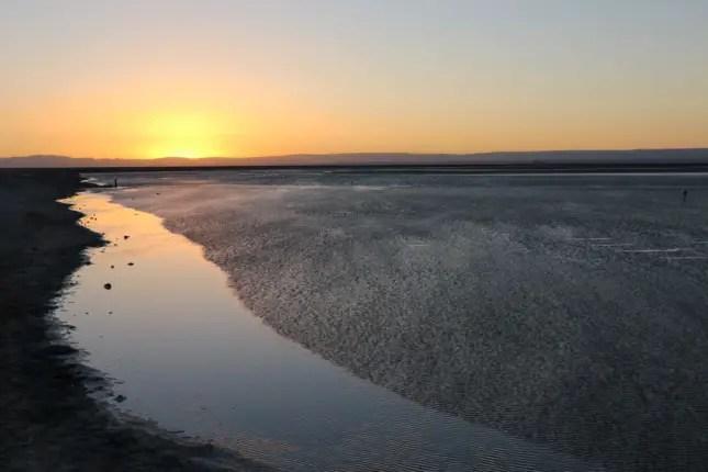 chaxa lagoon sunset atacama