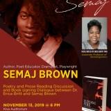 Flint Poet Laureate Semaj Brown to perform at UM-Flint Nov. 13