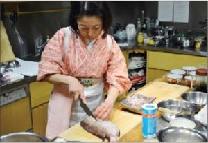 A chef demonstrates how to prepare a traditional 'one soup, three dishes' Japanese lunch