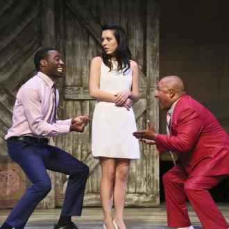 Christian Telesmar as Da'Ran, Jacqueline Misaye as Sophie, and Mel Hampton as Pastor Ernest in East West Players' West Coast premiere of Kentucky by Leah Nanako Winkler. Photo by Michael Lamont.