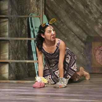 Jenapher Zheng as Sylvie the cat in East West Players' West Coast premiere of Kentucky by Leah Nanako Winkler. Photo by Michael Lamont.