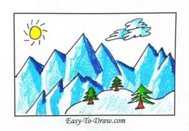 How To Draw Cartoon SNOWY MOUNTAINS Icebergs For Kids
