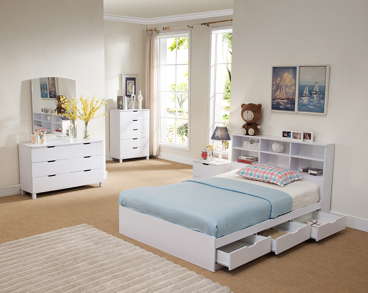 Bookcase Headboard Chest Bed White Or Dark Taupe