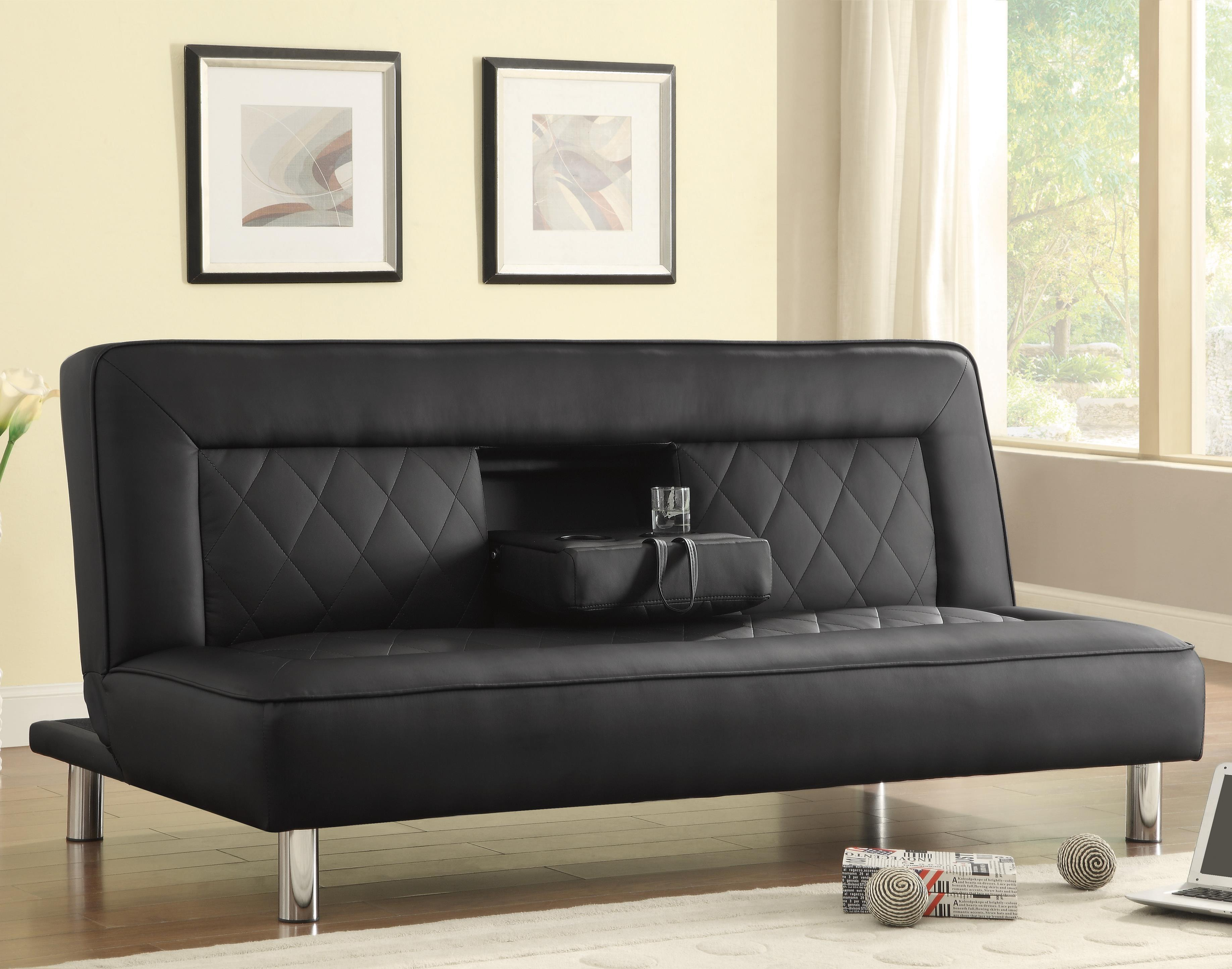 Futons Sofa Bed In Black Leatherette With Drop Console Cup