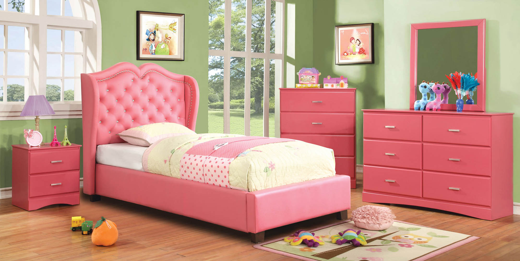 Monroe Twin Pink Upholstered Bed Frame