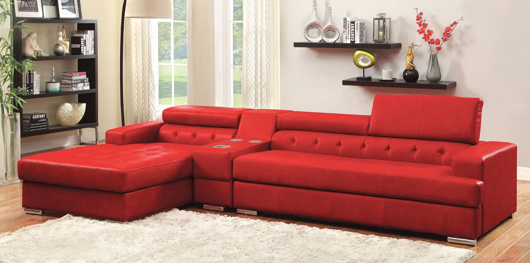 3 pcs red leather sofa set with console