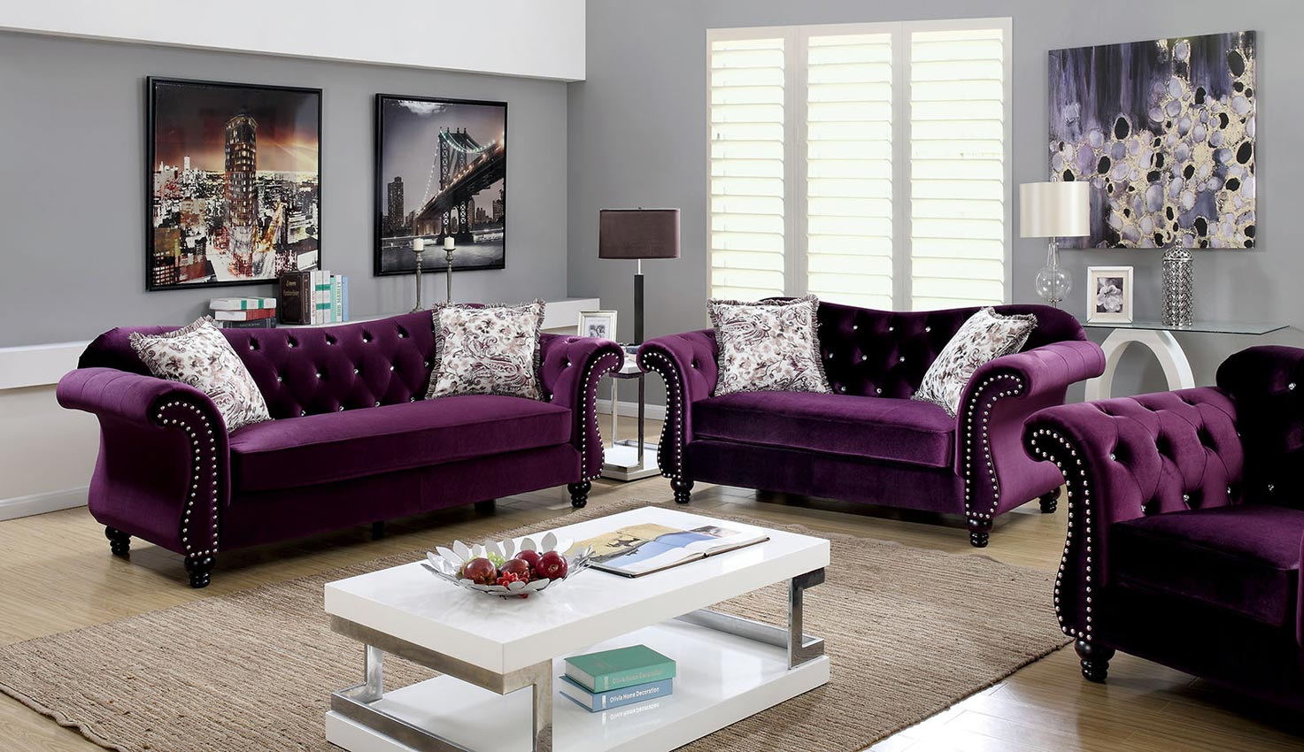 Don't be neutral on the subject of color. Plum Flannelette Fabric Sofa Set
