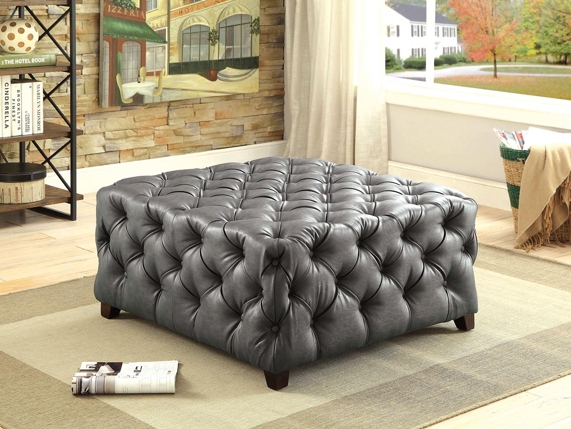 gray tufted bonded leather square ottoman