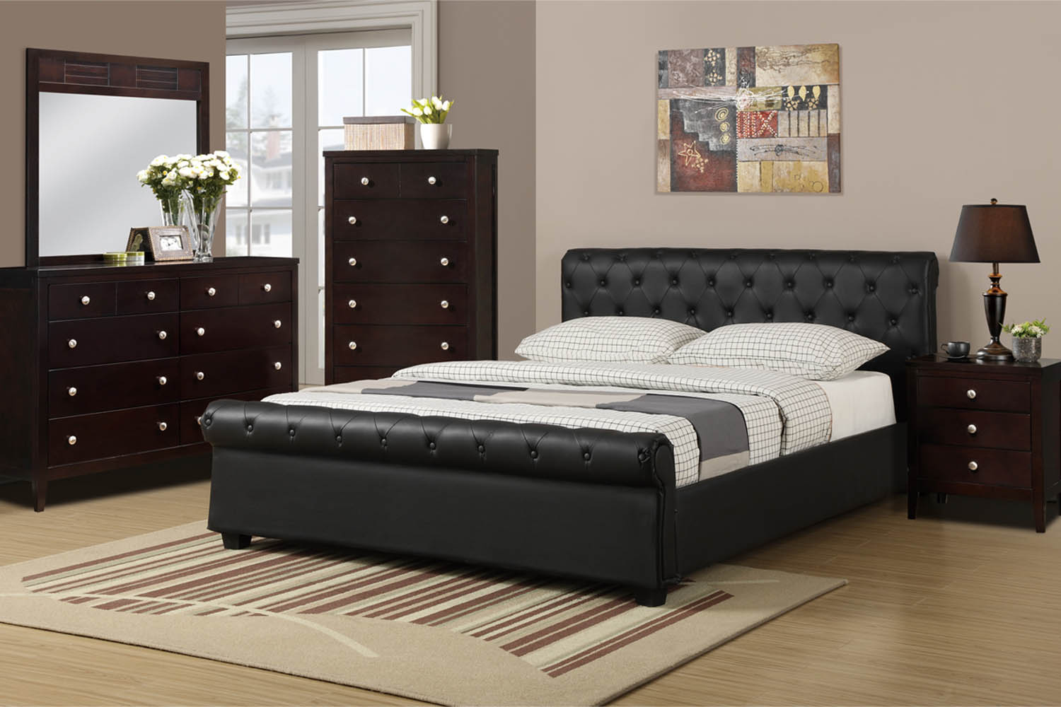 Black Tufted Faux Leather Bed Frame
