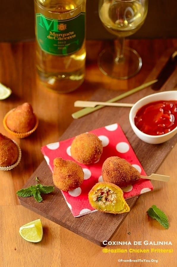 Coxinha de Galinha (Chicken Fritters) and Rioja Wine - A match made in heaven!