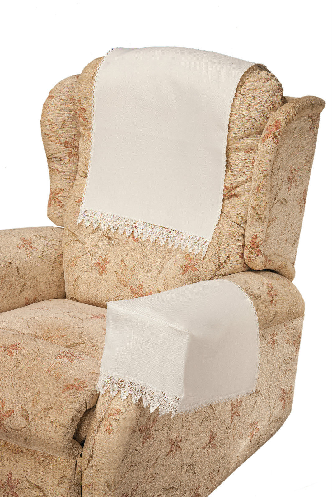 COMET White 6 Chair Arm Covers And 5 Chair Backs With
