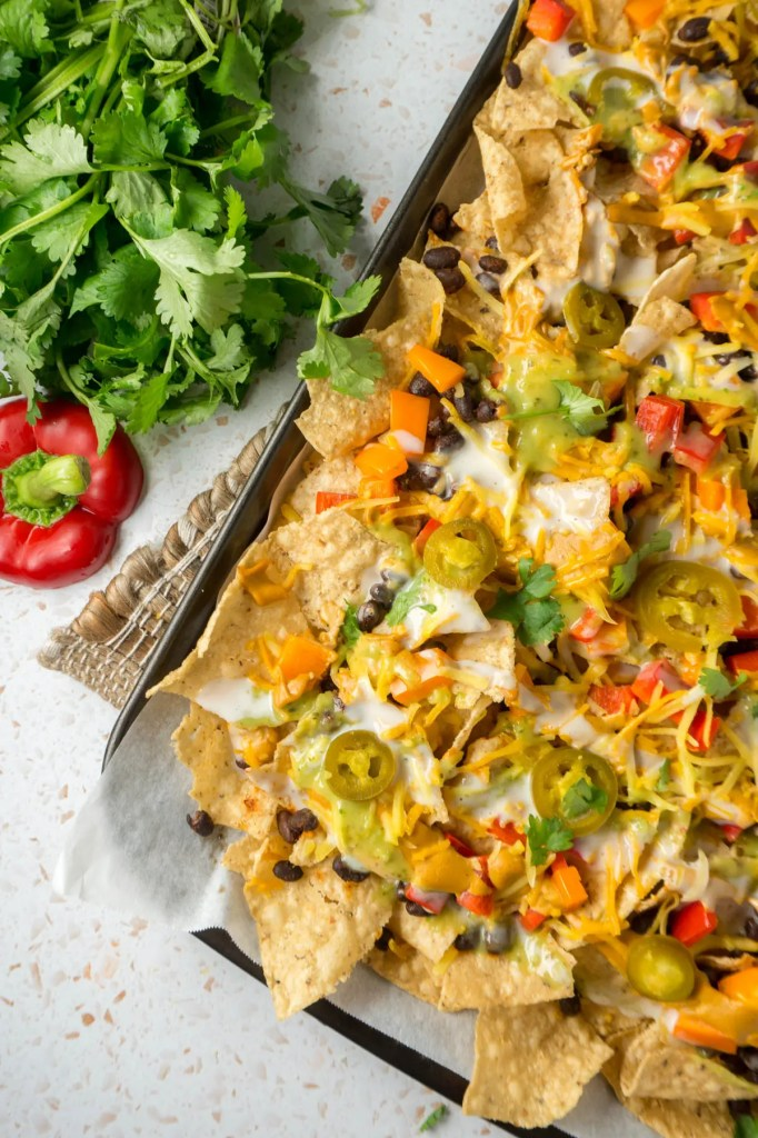 sheet pan of nachos