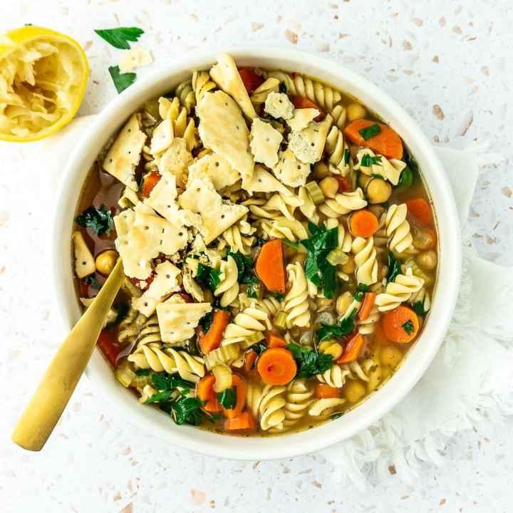 Bowl of chickpea noodle soup