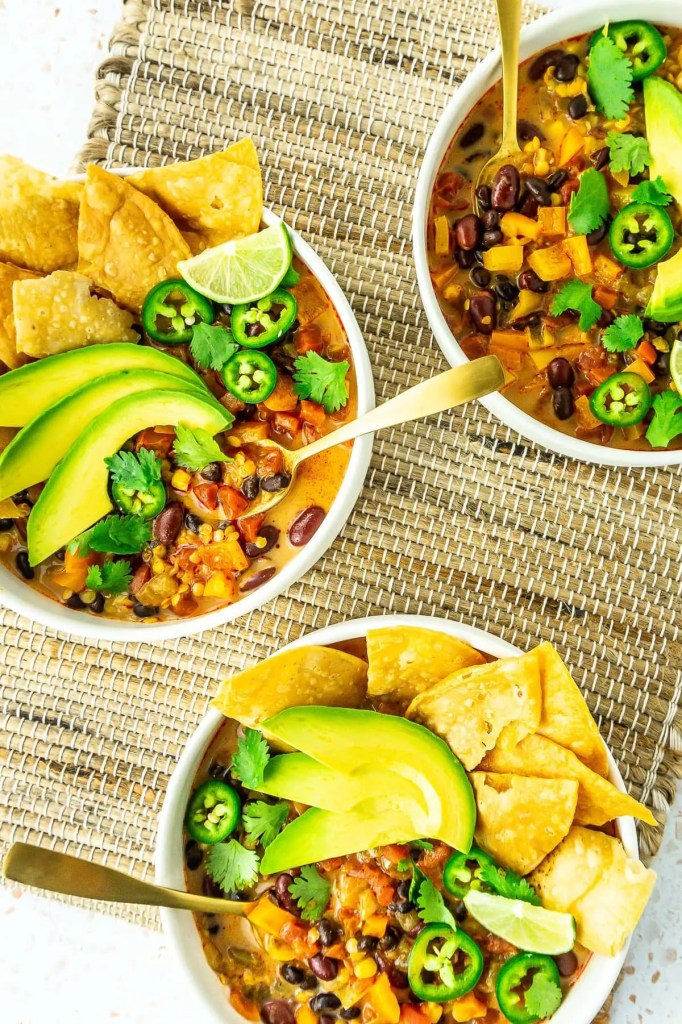 Bowls of Lentil Tortilla Soup