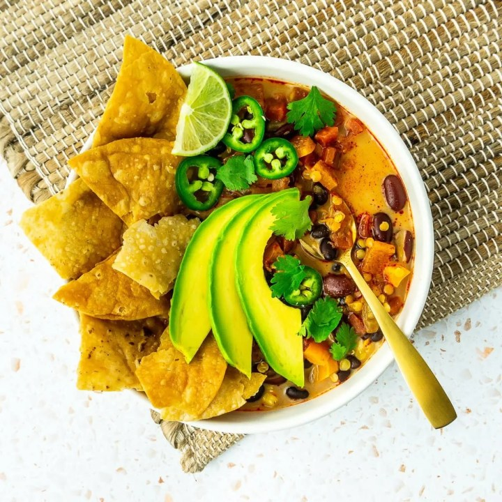 Bowl of Lentil Tortilla Soup
