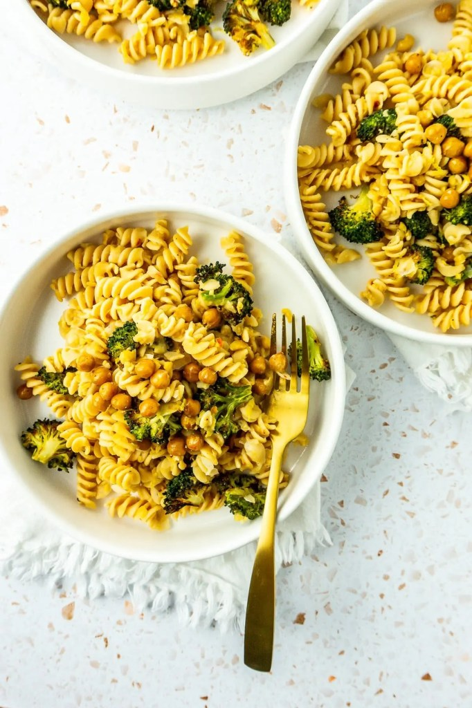 Several bowls chickpea pasta