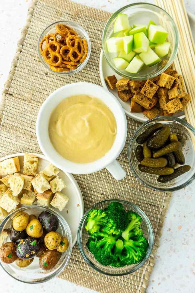 Easy Vegan Cheese Fondue with Accompaniments