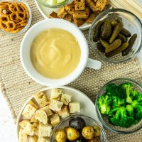 Vegan Cheese Fondue and Accompaniments
