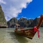 Longtail boat in Maya Bay, Phi Phi Island