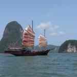 June Bahtra sailing in Phang Nga Bay, Thailand