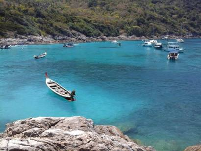 Boats at Bungalow Bay - Racha Yai Island - Early Bird Snorkeling Tour from Phuket, Thailand