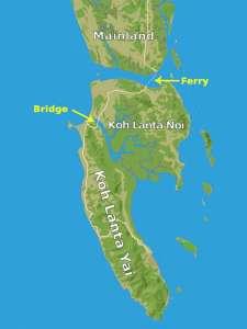 Map of Koh Lanta and Bridge