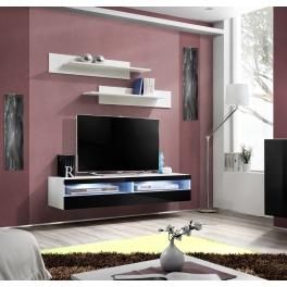 meuble tv avec led 4 espaces de rangement noir et blanc destockage