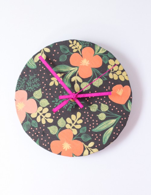 Easy DIY Colorful Clock ideas using wrapping paper