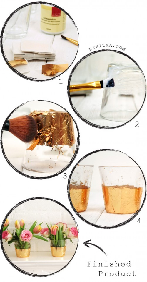 DIY gold leaf vase decor ideas