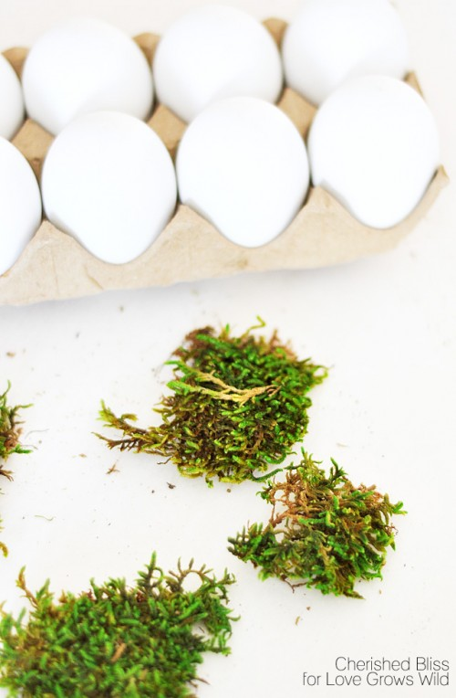 DIY moss covered Easter Eggs
