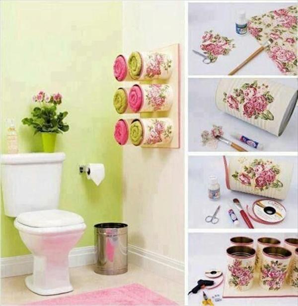 Simple DIY bathroom towel storage