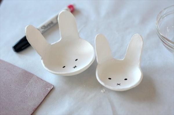 Cool Homemade Clay Bunny bowl