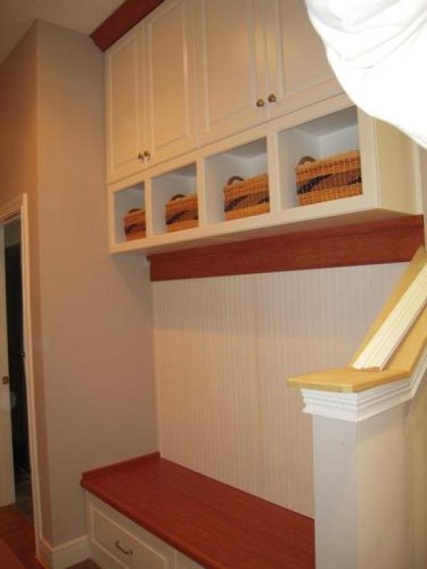 Wooden storage cabinets in garage