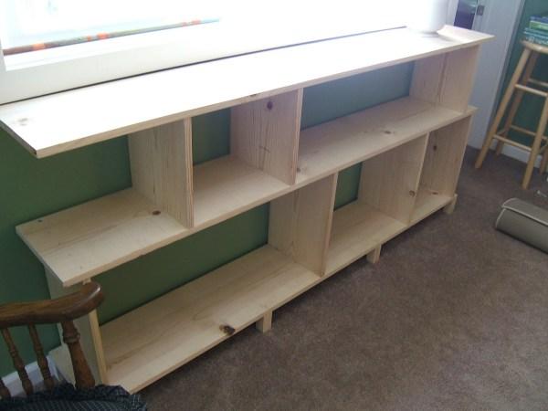 DIY wooden bookshelves