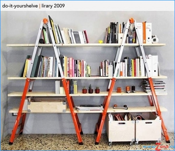 DIY homemade bookshelves