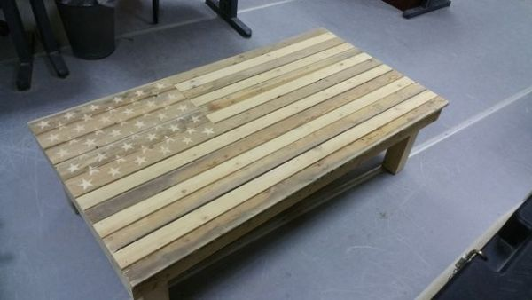 DIY American Flag Coffee table