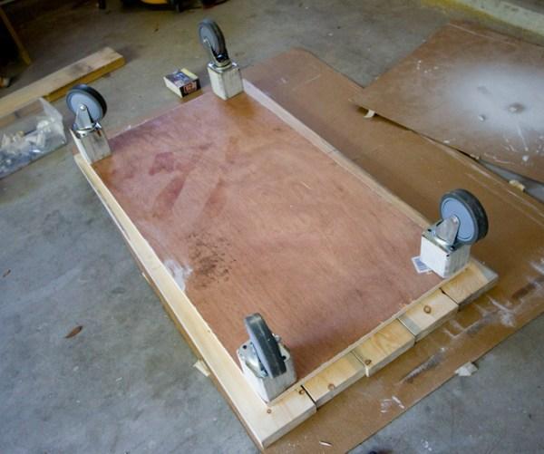 Homemade coffee table with wheel
